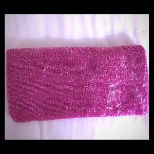 Pretty in pink! Beaded fold-over evening clutch.